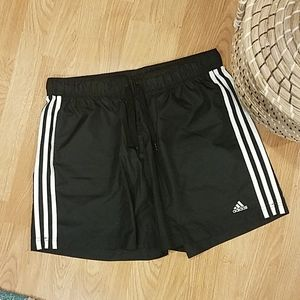 ADIDAS black shorts with white side piping